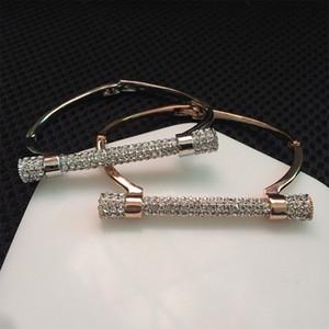Luxury Crystal Horseshoe Cuff Bracelets Marca Brazaletes Oro Color Plata Mujeres Bijoux Rhinestones Brazo Cuff Pulseira Feminina
