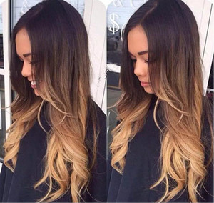 Bythair 슈퍼 Wavy 전체 레이스 인간 흑인 여성을위한 머리카락 가발 Brazilian hair Three Tone # 1b 4 27 ombre color 레이스 프론트 가발