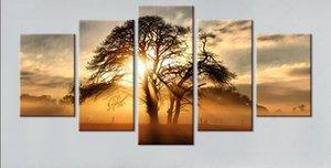5 painel de pintura em tela HD de Impressão pintura da árvore Do Sol cuadros decoracion sala para pinturas de parede pintura a óleo com mold