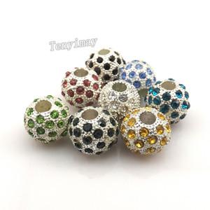 Perle di fascino europee completamente gioiello Perle di grandi dimensioni con strass colore misto Perle in rilievo placcato argento 24 pezzi / lotto