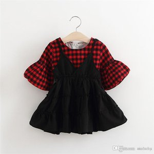 Wholesale-New Red And Grey Plaid Dress Baby Girls Clothing Dresses Fashion Brand Childrens Dresses For Kids 70 80 90 100CM Free Shippping