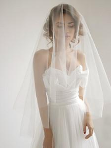 Daire Parmak Ucu Allık Beyaz Fildişi Ile Düğün Peçe Tül Gelin Peçe Kesim Edage Ile Ucuz Allık Peçe Basit Stil Bırak Veils