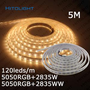 HITOLIGHT 5m / Roll Double Row LED Strip SMD5050 RGB+2835 белый / теплый белый 120Leds / m RGBW 12V гибкий свет водонепроницаемый / не водонепроницаемый полосы