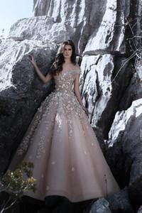 Off the Shoulder Árabe Dubai Vestidos de Noite 2018 Novo Design com 3D Floral Flores Uma Linha Longos Prom Vestidos Vintage Vestido de Soiree