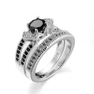 SZ6-10 Elegante Negro Diamonique CZ Anillo de Banda de Compromiso de Boda de Oro Blanco Llena Conjuntos