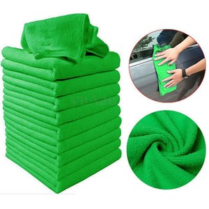 10pcs Green Microfiber Wash Cleaning Towels Soft Car Cleaning Duster Cloths 30x30cm Towel