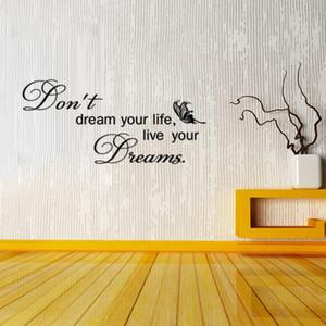 9113 Ne rêvez pas de votre vie, vivez vos citations de rêve Sticker mural Papillon couvrant les autocollants de motivation Décor à la maison