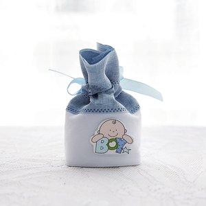 6 * 4 * 10cm Cute Baby Boy Girl coulisse sacchetto sacchetti di caramelle Sacchetto di imballaggio del regalo Baby Shower favore di partito titolare ZA4421