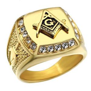 MCW Rock Rings Iced Out Gold Color Acciaio al titanio Massone gratuito Mason Massonico Signet Anelli per gioielli da uomo