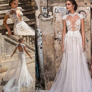 heavily embellished bodice sexy wedding dresses 2018 muse berta bridal cap sleeves high neck deep plunging sweetheart neckline wedding gowns