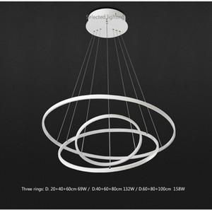 Moderne pendelleuchten für wohnzimmer esszimmer 3/2/1 kreis ringe acryl aluminium körper led beleuchtung deckenleuchte leuchten