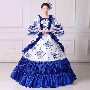 Marie antoinette masquerade balo ortaçağ güney rokoko belle dress 2017 marka yeni mavi dantel baskılı tiyatro giyim kadın dresse