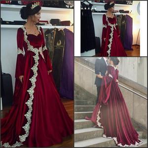 Manches longues arabe Dubaï robe de Feista 2017 longue robe de soirée une ligne robes de soirée bourgogne robes de soirée avec des appliques