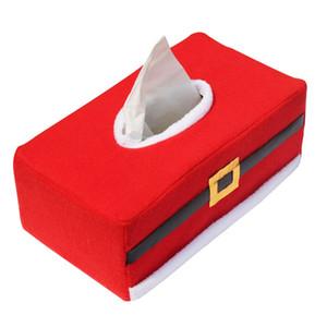 Vente en gros - Père Noël Style de Noël Ceinture Feutre Tissue Box Housse à la maison décoration vintage porte-serviette Creative pour serviettes en papier