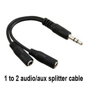 Toptan Siyah 1 Erkek 2 Kadın 3.5mm AUX Ses Y Splitter Kablo Yüksek Kalite Kulaklık Kulaklık Adaptörü 300 adet / grup