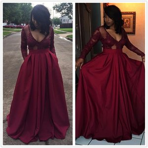 2K17 New Black Girls Deep V Neck Satin A Line Evening Dresses Sheer Long Sleeves Tulle Lace Applique Beaded Floor Length Party Prom Dresses