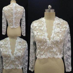 Cheap Bridal Wraps Modest Alencon Applique V Neck Wedding Bridal Bolero For Wedding Dresses Long Sleeve Lace Applique Jacket