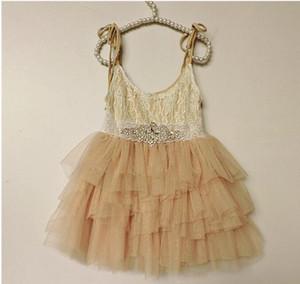 Girls princess dress Hot sell children Rhinestone lace belt lace suspeder dress kids lace tulle tutu cake dress children days dresses A8690
