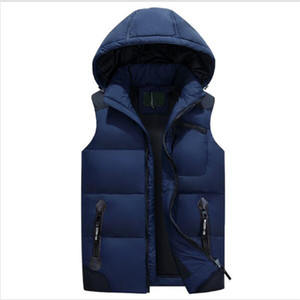 Wholesale- Mens Duck Down Vest Hooded Warm Vest Chaleco Hombre 5XL Solid Winter Gilet Casual Deachable Hat Sleeveless Waistcoat Jackets