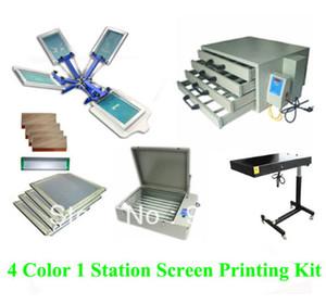 Ücretsiz kargo indirim tam 4 renk 1 istasyon t-shirt ekran baskı kiti basın yazıcı makinesi flaş kurutucu expsoure sedye