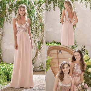 2020 Rose Gold Brautjungfernkleider A-Linie Spaghetti Backless Sequins Chiffon- preiswerte Long Beach Hochzeit Gust Kleid Mädchen der Ehre Kleider BM0153