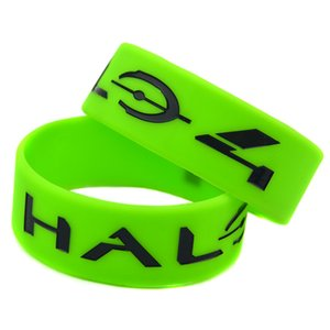 50PCS Shooting Game Halo 4 uma polegada de largura Tamanho da borracha de silicone Pulseira Adulto de presente da promoção