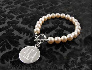 Aka Letters Sorority Pearl Bracelet Aka Legacy Charm Bracelet Lettera Bracciali Donna Regalo di Natale di Halloween