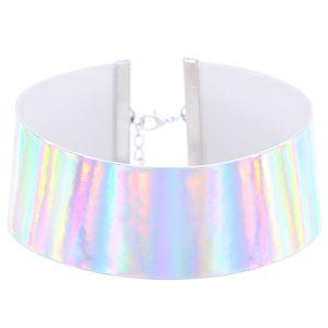 2017 Einzigartige bunte holographische Chokerhalsketten Frauen Aussage Regenbogen Tätowierung Halsband Laser Lederhalsband Art und Weise böhmischer Kragen Schmuck