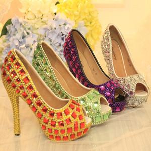 Plus récent concepteur Crystal Toe coloré strass Peep chaussures de mariée mariage pourpre d'argent vert AB cristal rouge Stiletto Prom Party 12cm