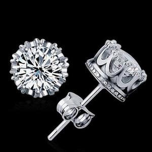 Yeni Taç Düğün Saplama Küpe 2017 Yeni 925 Ayar Gümüş Benzetilmiş Pırlanta Nişan Güzel Takı Kristal Kulak Yüzük Taç earri