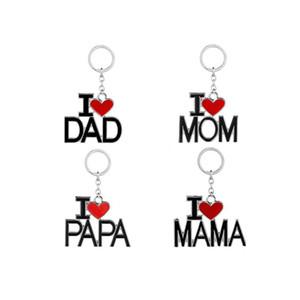 Babalar Günü Anneler Günü Hediyesi İçin Yeni Anahtarlık ile Mektupları I Love PAPA MAMA DAD MOM Kırmızı Aşk Kalp Anahtarlık Zincirler