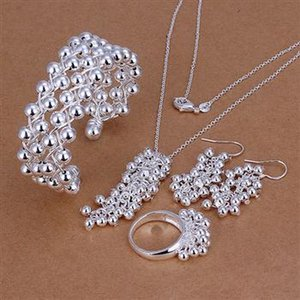Hot fashion 925 silver jewelry set necklace bracelet ring earrings charm beads free shipping