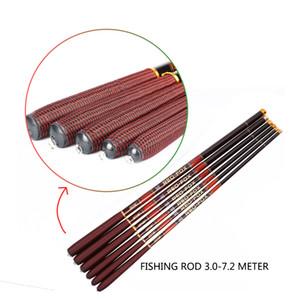 Canne da pesca in carbonio Canne da pesca telescopiche Canna da pesca 3.0m 3.6m 4.5m 5.6m 6.3m 7.2m con Top 3 punte di ricambio