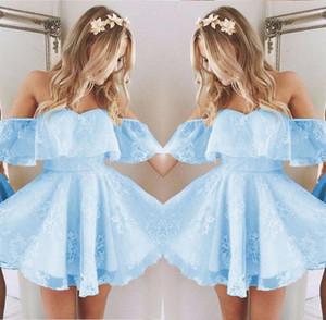 Vintage New Short Homecoming Prom Dress Applique in rilievo di moda Ice Blue Off spalla Cocktail Party abiti su misura