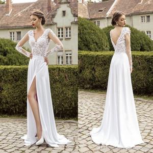 Cheap Berta Bridal V Neck Lace Country Wedding Dresses Sexy Split Chiffon 2016 Wedding Dresses Vintage Bohemian Wedding Dress With Sleeve
