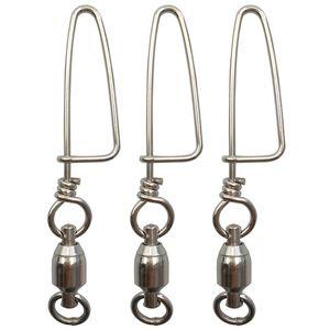 20 piezas de plata de acero inoxidable con rodamiento de bolas de pesca giratoria con cierre a presión de costa Todos los tamaños de señuelos de pesca dura Conector