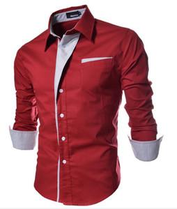 2018 Wed camisa casual hombres moda color de contraste a rayas con paneles diseño único breasted manga larga para hombre camisas envío gratis