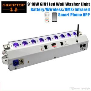 TIPTOP TP G3044 6in1 9 x 18W RGBAW UV 6in1 batterie LED sans fil Powered laveuse lumière, scène mur lumière blanche logement Téléphone Remote App