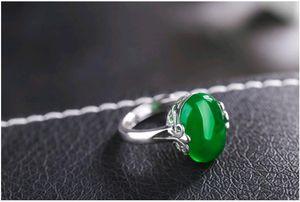 Commercio all'ingrosso dei monili della pietra preziosa naturale Retro anelli registrabili della pietra della giada d'argento Solitaire anello di disegno per il regalo di fidanzamento Donne
