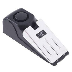 Vendita calda Mini Wireless Vibrazione innescata Arresto della porta Allarme casa cuneo a forma di tappo Alert sistema di sicurezza blocco sistema di blocco nero
