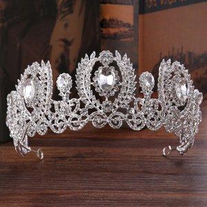 Europeu Acessórios Para o Cabelo Do Casamento Das Mulheres de Noiva Tiara de Cristal Branco Coroa para o Headban Prom Cabelo Barroco Jóias Ornamento Headpieces Hairwear