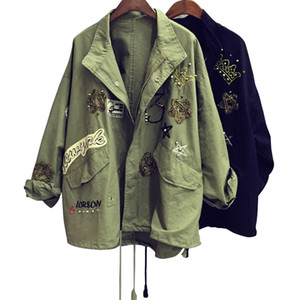 2017 Korean Embroidery Patch Design Army Green Jacket Coat Rivet BF Tide Women Punk Denim Coat Jacket