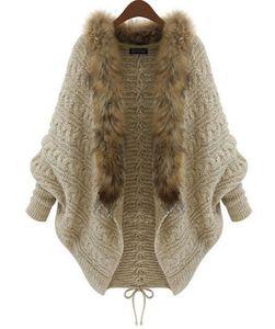 Winter New Cardigan Poncho Pelzkragen Oberbekleidung Frauen Pullover Gestrickte Marke Casual Strickwaren Kostenloser Versand