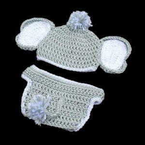 Neonato Knit Elephant Costume, Handmade Crochet Baby Boy Girl elefante grigio cappello e pannolino Set di copertura, costume di Halloween per bambini foto puntelli