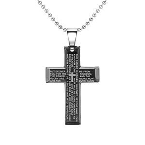MCW Religion Style Pendentif Noir Couleur Titanium Acier Christian Croix Forme Collier avec Bible Lection Bijoux