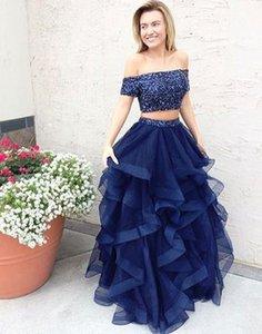 Omuz Lacivert İki Piece Gelinlik Ruffles bir çizgi Tül Kristal Boncuklu korse 2020 Backless Pullu Elbiseler Kadınlar Kızlar Kapalı