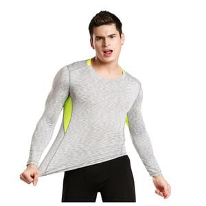 Os novos esportes collants de compressão elástica correndo T-shirt de mangas compridas rápida de manga comprida roupa da aptidão dos homens