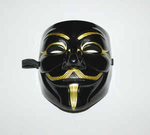 Großhandels-Schwarz V Mask Adult Mens Anonymous Halloween V Vendetta-Film Schwarz Kostüm Maske Guy Fawkes Anonymous Halloween-Party-Cosplay + B