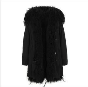 Fashion Jazzevar black Mongolia sheep fur lined black long parka warm coats with Mongolia sheep fur trim collar ladies jackets