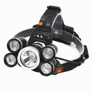 Faro de 5leds 18000lm Cree T6 + 4 * XPE LED Lámpara a prueba de agua Lámpara a prueba de agua + cargador de coche + cargador de pared para montar la caza